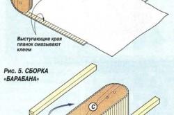 Схема сборки барабанов книжного шкафа.