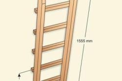 Cхема размеров лестницы для двухъярусной кровати.