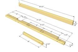 Чертеж размеров планок двухъярусной деревянной кровати