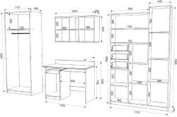 Схема размеров мебели в детской комнате