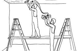 Оклейка гипсокартонного потолка