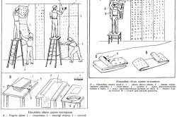 Схема приклеивания обоев на гипсокартоную стену