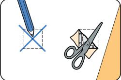 Схема обрезки лишних сантиметров бумажных полос