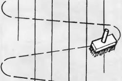 Схема перекрёстного движения валика при нанесении клея на стену
