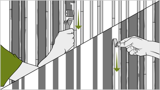 Схема покраски стены комнаты вертикальными полосами