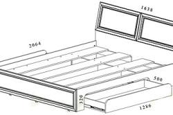 Схема размеров каркаса кровати с выдвижными ящиками