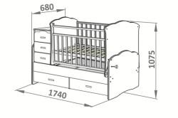 Схема размеров детской кроватки