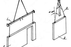 Схемы строповки внутренних стеновых панелей