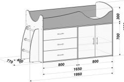 Схема размеров кровати чердака