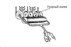 Схема нанесения узора при помощи валика.