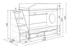 Схема двухъярусной кровати с лестницей