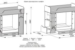 Схема размеров двухъярусной кровати со шкафом