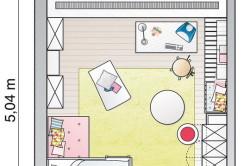 План комнаты для девочки с расстановкой мебели