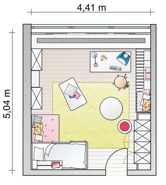 План комнаты для девочки с