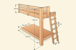 Схема размеров двухъярусной кровати.