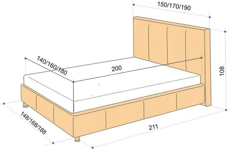 Схема размеров односпальной кровати.