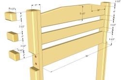 Схема-пример размеров боковых частей деревянной двухъярусной кровати.