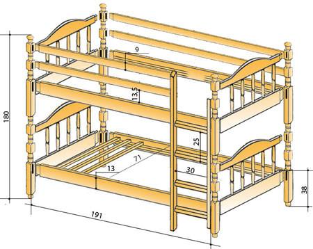 Чертеж двухъярусной  кровати.