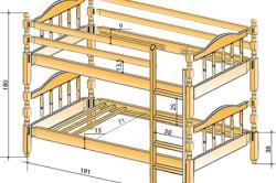 Чертеж двухъярусной кровати с указанием размеров