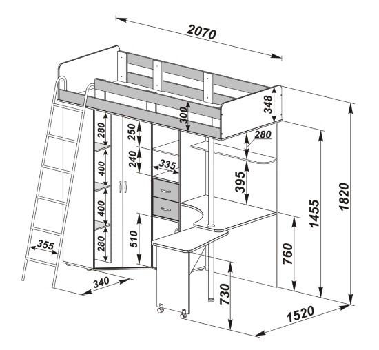 схема сборки Кровать чердак м