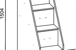 Схема-пример размеров лестницы для двухъярусной кровати.