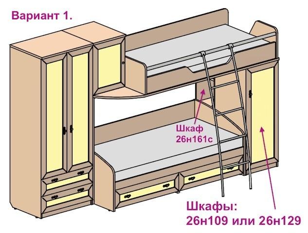 Вариант двухъярусной кровати со шкафом