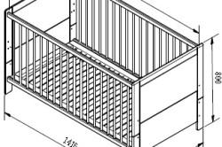 Чертеж детской кроватки с указанием размеров