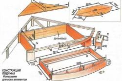 Чертеж выдвижной угловой кровати-подиума