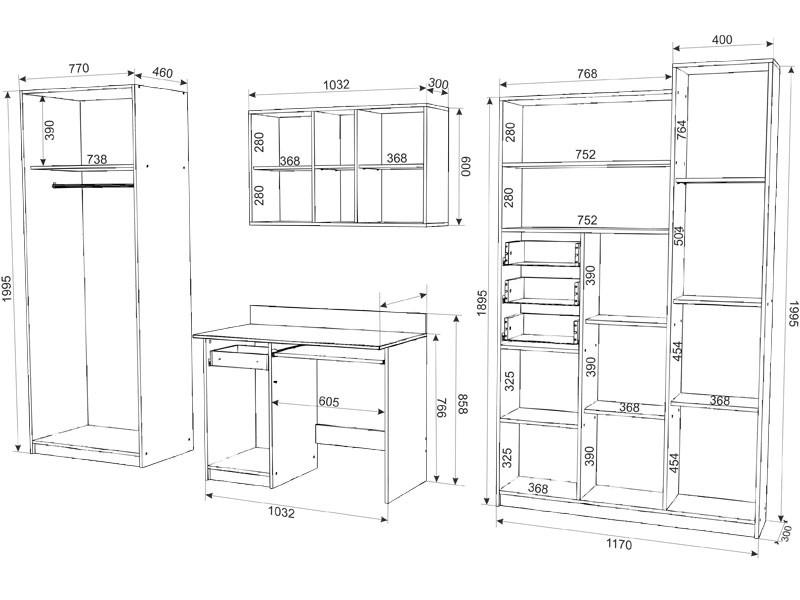Схема размеров мебели в