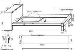 Чертеж деревянной кровати