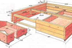 Схема кровати с ящиками