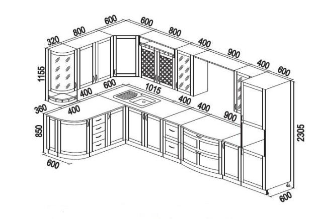 Угловой кухонный гарнитур своими руками чертежи