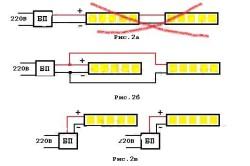 Схема неправильного и правильного подключения светодиодных лент