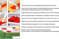 Пошаговая схема работ при наклеивании обоев на потолок