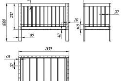 Схема размеров боковых спинок и поперечных боковин кровати