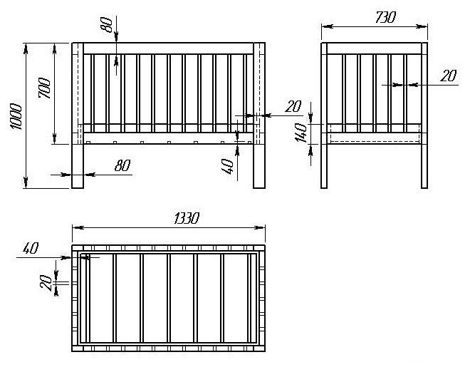 поперечных боковин кровати