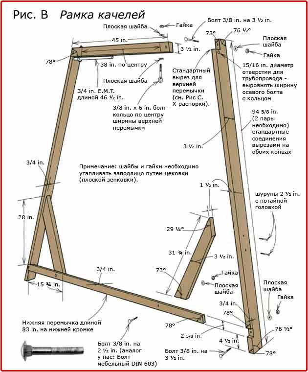 Схема сборки рамы качелей