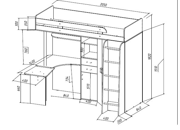 схема двухъярусной кровати