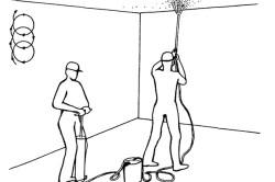 Схема покраски потолка при помощи краскопульта