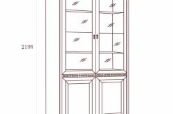 Схема шкафа для книг с дверцами