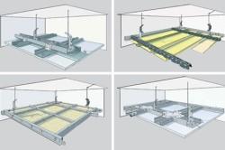 Схема монтажа потолка первого уровня