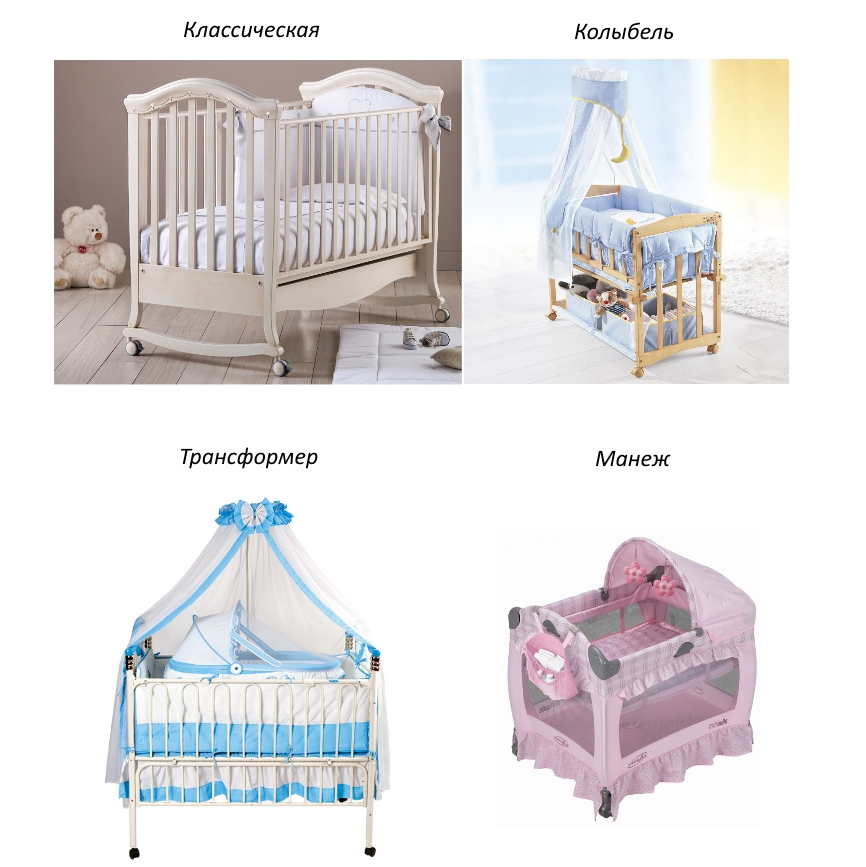 Типы кроваток для новорожденных