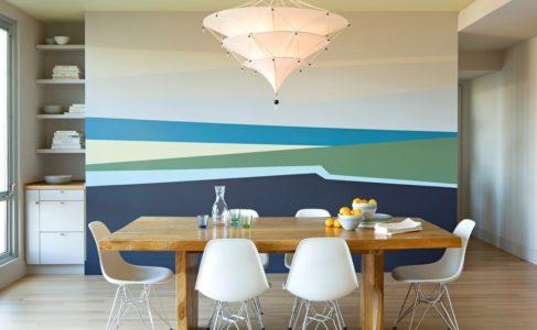 Комбинированная покраска придаст комнате колорит, яркий дизайн, необычный вид